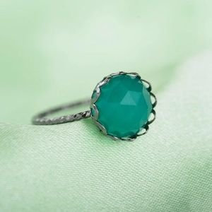 Jewelry - Green Gemstone Princess Crown Tibetan Silver Ring
